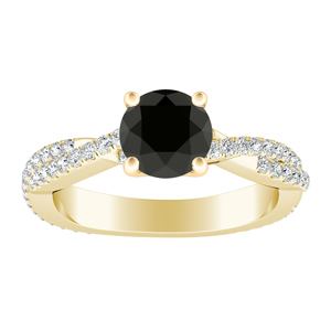 CALLIE Twisted Black Diamond Engagement Ring In 14K Yellow Gold With 1.00 Carat Round Diamond