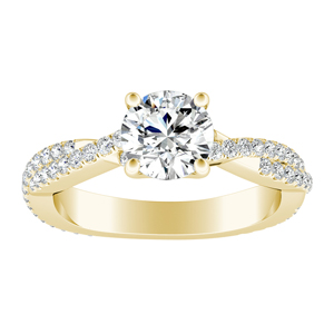 CALLIE  Twisted  Moissanite  Engagement  Ring  In  14K  Yellow  Gold  With  0.50  Carat  Round  Stone