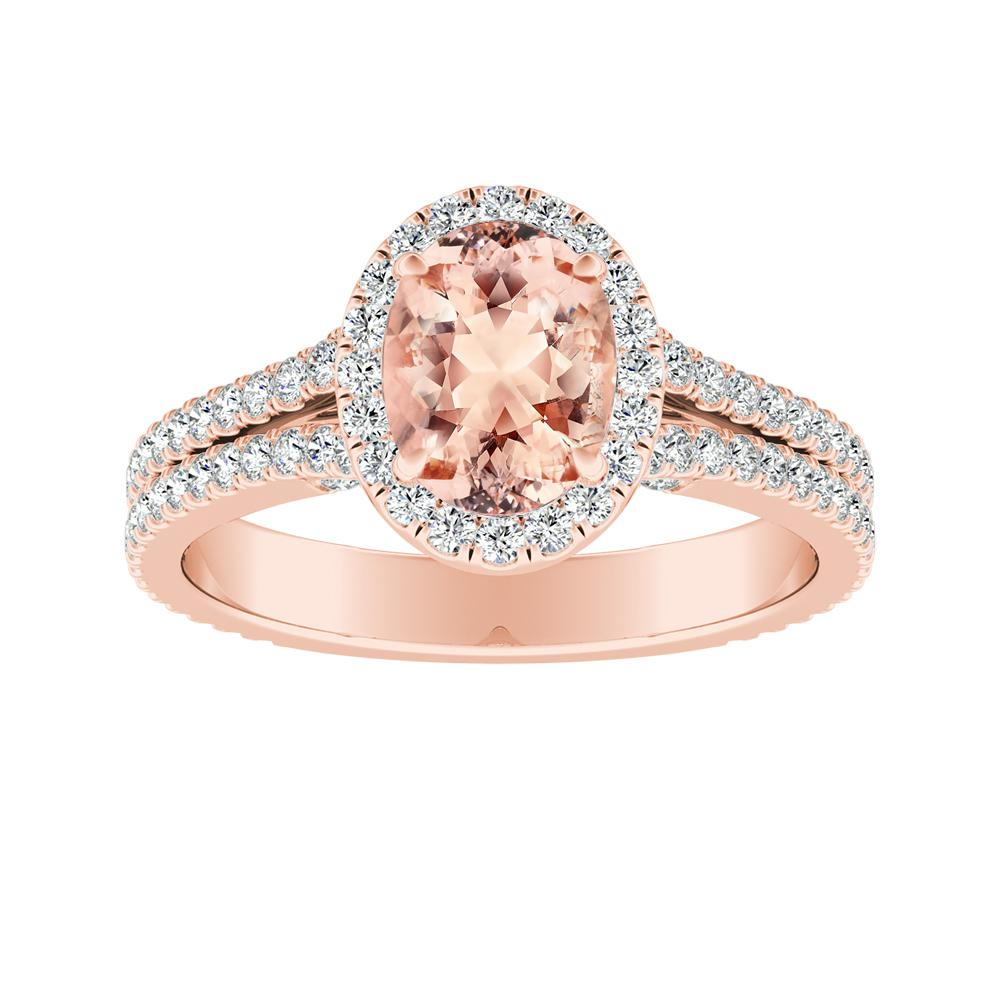 AUDREY Halo Morganite Engagement Ring In 14K Rose Gold With 2.00 Carat Oval Stone