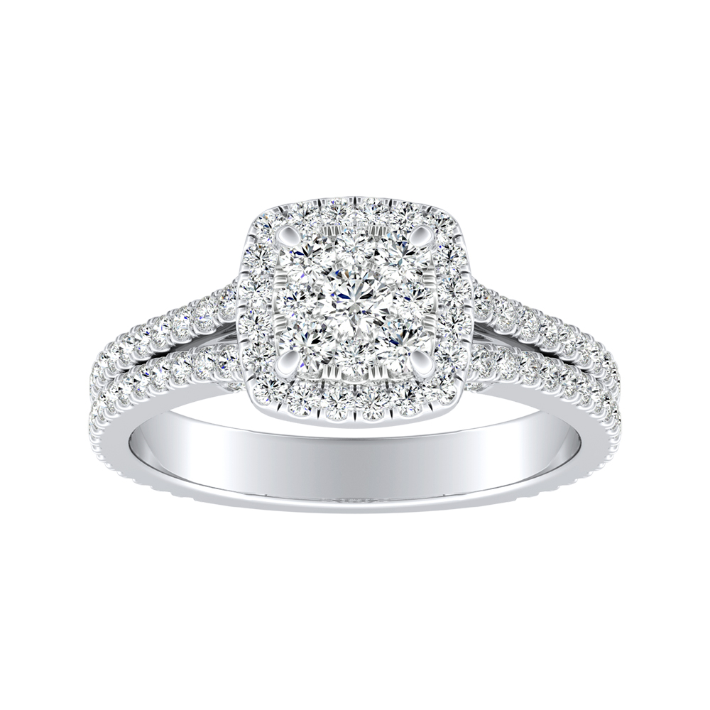 AUDREY Halo Diamond Engagement Ring In 14K White Gold With Cushion Diamond In H-I SI1-SI2 Quality