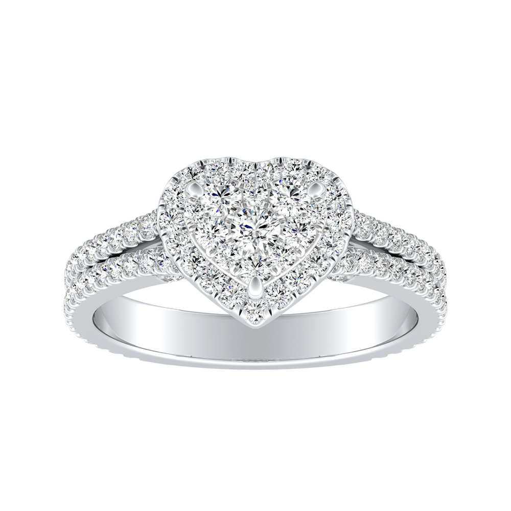 AUDREY Halo Diamond Engagement Ring In 14K White Gold With Heart Diamond In H-I SI1-SI2 Quality