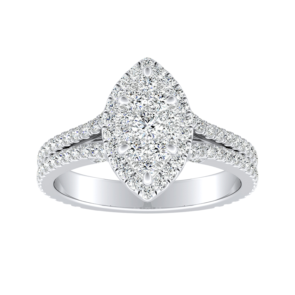AUDREY Halo Diamond Engagement Ring In 14K White Gold With Marquise Diamond In H-I SI1-SI2 Quality