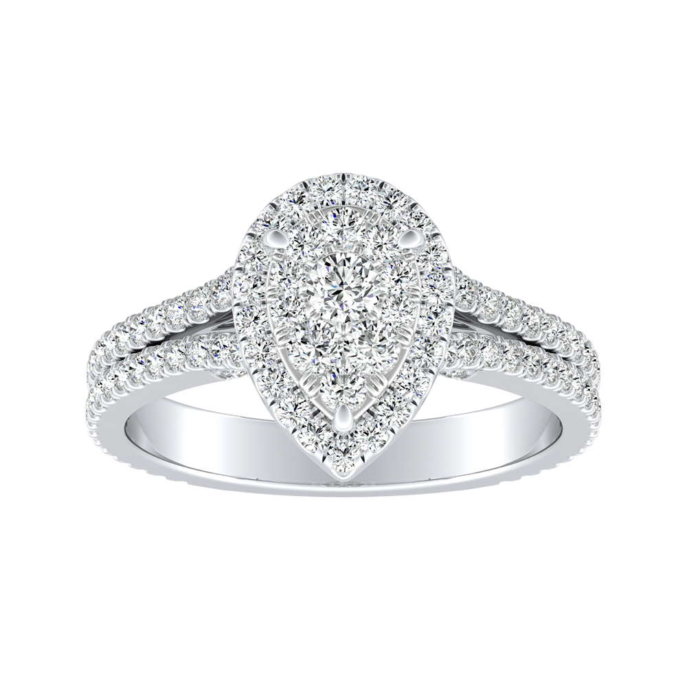 AUDREY Halo Diamond Engagement Ring In 14K White Gold With Pear Diamond In H-I SI1-SI2 Quality