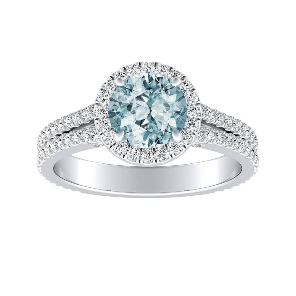 Audrey Halo Aquamarine Engagement Ring In 14k White Gold With 1 00 Carat Round Stone Diamondwish Com