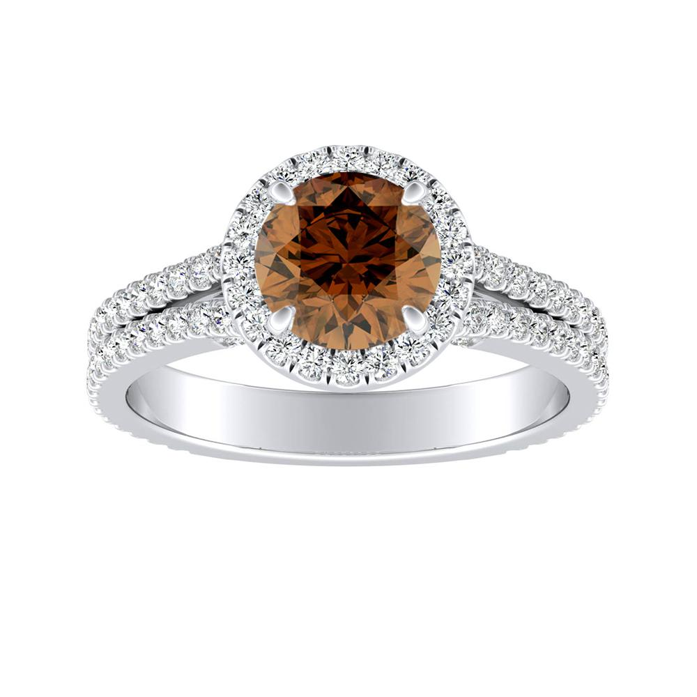 AUDREY Halo Brown Diamond Engagement Ring In 14K White Gold With 0.50 Carat Round Diamond
