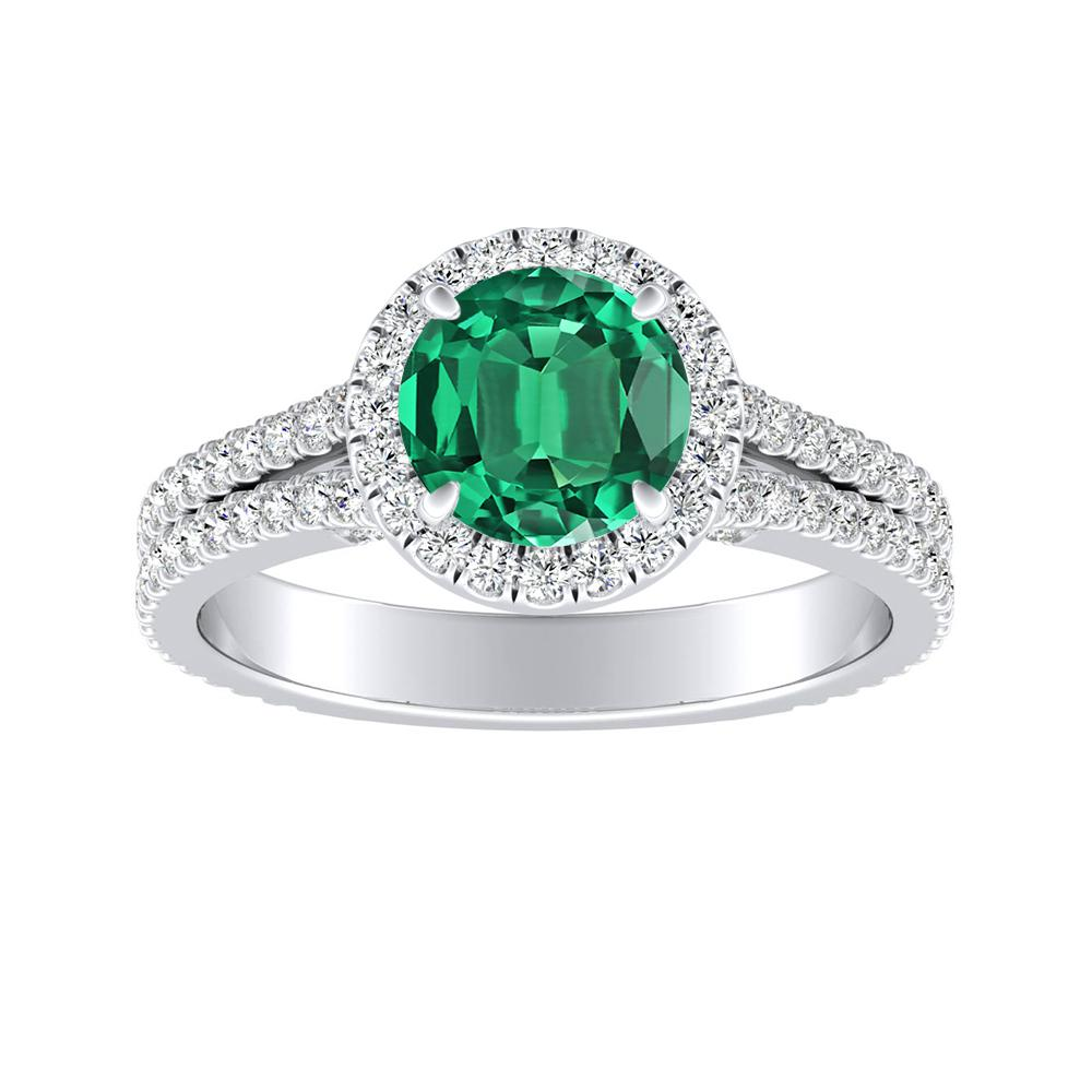 AUDREY Halo Green Emerald Engagement Ring In 14K White Gold With 0.50 Carat Round Stone