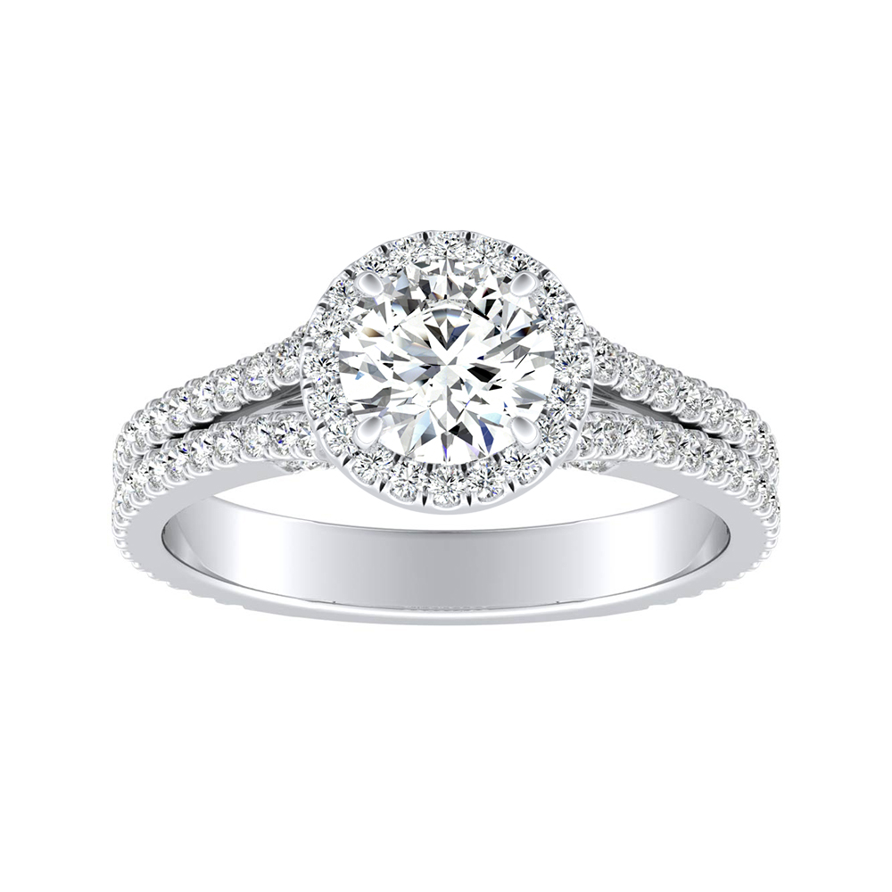 AUDREY Halo Moissanite Engagement Ring In 14K White Gold With 0.50 Carat Round Stone