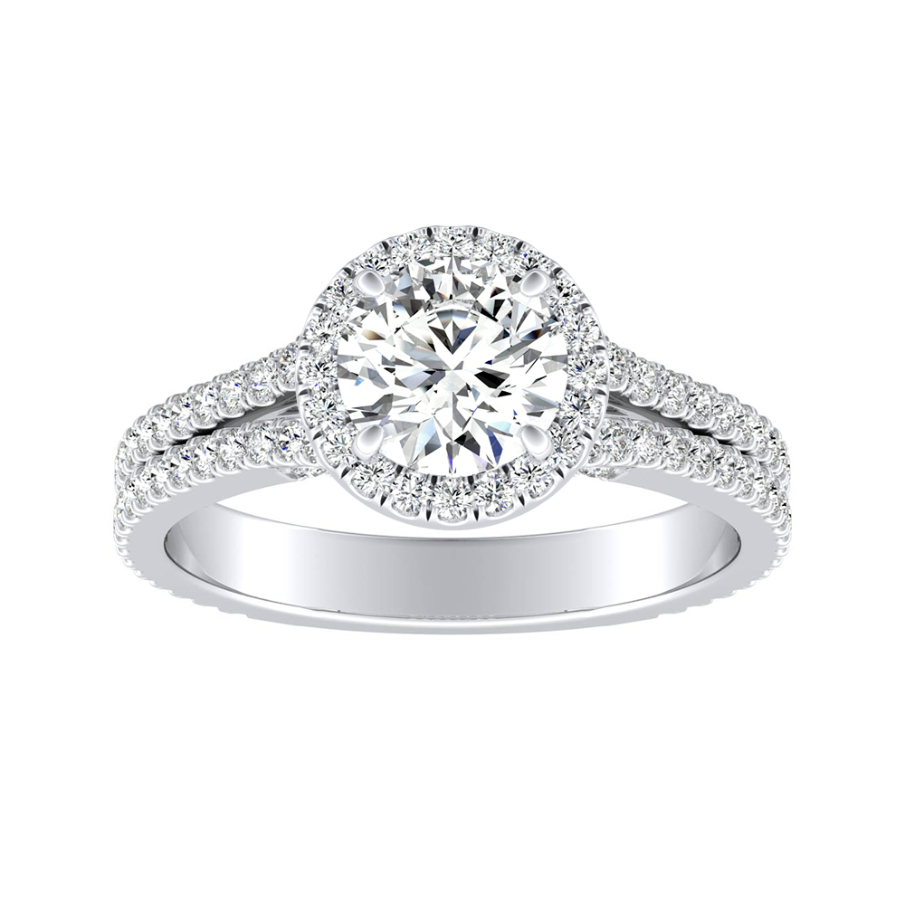 AUDREY Halo Diamond Engagement Ring In 14K White Gold