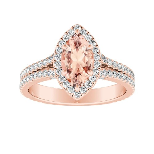 AUDREY Halo Morganite Engagement Ring In 14K Rose Gold With 2.00 Carat Marquise Stone