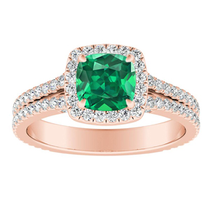 AUDREY Halo Green Emerald Engagement Ring In 14K Rose Gold With 0.50 Carat Cushion Stone