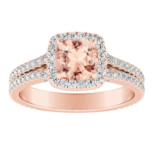 AUDREY Halo Morganite Engagement Ring In 14K Rose Gold With 1.00 Carat Cushion Stone