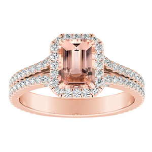 AUDREY Halo Morganite Engagement Ring In 14K Rose Gold With 1.00 Carat Emerald Stone