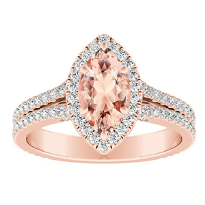 AUDREY Halo Morganite Engagement Ring In 14K Rose Gold With 1.00 Carat Marquise Stone