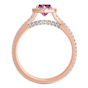 AUDREY  Halo  Pink  Sapphire  Engagement  Ring  In  14K  Rose  Gold  With  0.50  Carat  Marquise  Stone