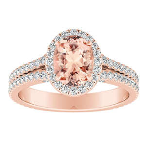 AUDREY Halo Morganite Engagement Ring In 14K Rose Gold With 1.00 Carat Oval Stone