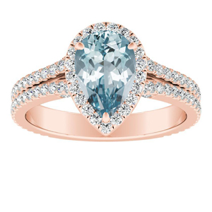 AUDREY Halo Aquamarine Engagement Ring In 14K Rose Gold With 1.00 Carat Pear Stone