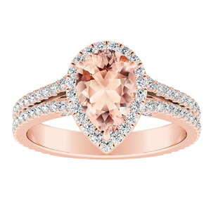 AUDREY Halo Morganite Engagement Ring In 14K Rose Gold With 1.00 Carat Pear Stone