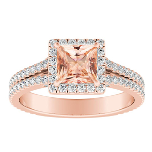 AUDREY Halo Morganite Engagement Ring In 14K Rose Gold With 1.00 Carat Princess Stone