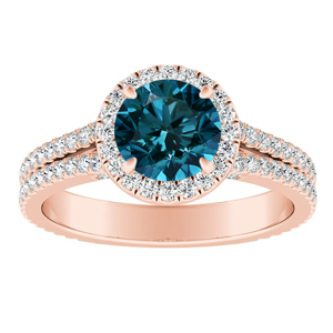 AUDREY  Halo  Blue  Diamond  Engagement  Ring  In  14K  Rose  Gold  With  0.50  Carat  Round  Diamond