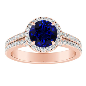 AUDREY Halo Blue Sapphire Engagement Ring In 14K Rose Gold With 0.50 Carat Round Stone