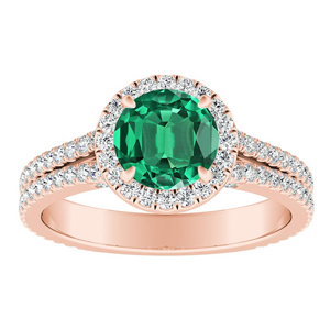 AUDREY Halo Green Emerald Engagement Ring In 14K Rose Gold With 0.50 Carat Round Stone