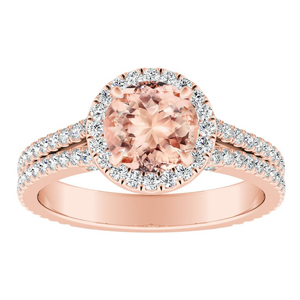 AUDREY Halo Morganite Engagement Ring In 14K Rose Gold With 1.00 Carat Round Stone