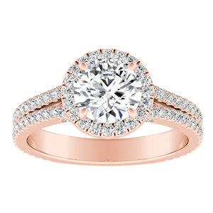 AUDREY  Halo  Moissanite  Engagement  Ring  In  14K  Rose  Gold  With  0.50  Carat  Round  Stone