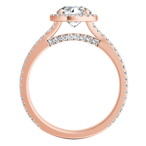 AUDREY  Halo  Moissanite  Wedding  Ring  Set  In  14K  Rose  Gold  With  0.50  Carat  Round  Stone