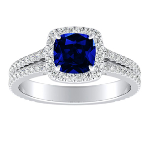 AUDREY Halo Blue Sapphire Engagement Ring In 14K White Gold With 0.50 Carat Cushion Stone