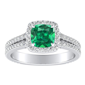 AUDREY  Halo  Green  Emerald  Engagement  Ring  In  14K  White  Gold  With  0.50  Carat  Cushion  Stone