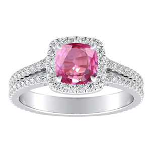 AUDREY  Halo  Pink  Sapphire  Engagement  Ring  In  14K  White  Gold  With  0.50  Carat  Cushion  Stone