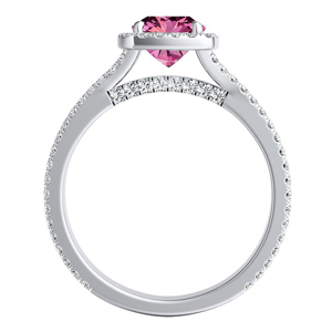 AUDREY  Halo  Pink  Sapphire  Wedding  Ring  Set  In  14K  White  Gold  With  0.50  Carat  Cushion  Stone