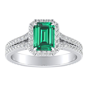 AUDREY  Halo  Green  Emerald  Engagement  Ring  In  14K  White  Gold  With  0.50  Carat  Emerald  Stone