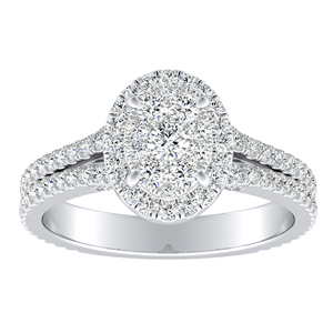 AUDREY Halo Diamond Engagement Ring In 14K White Gold With Oval Diamond In H-I SI1-SI2 Quality