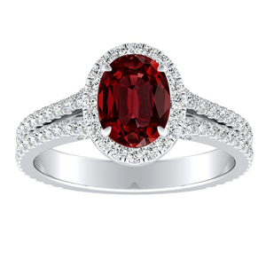 AUDREY Halo Ruby Engagement Ring In 14K White Gold With 0.50 Carat Oval Stone