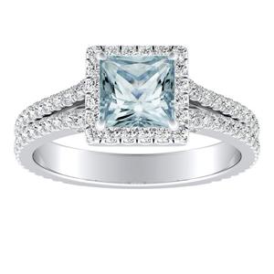AUDREY  Halo  Aquamarine  Engagement  Ring  In  14K  White  Gold  With  1.00  Carat  Princess  Stone