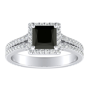 AUDREY  Halo  Black  Diamond  Engagement  Ring  In  14K  White  Gold  With  1.00  Carat  Princess  Diamond