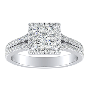 AUDREY Halo Diamond Engagement Ring In 14K White Gold With Princess Diamond In H-I SI1-SI2 Quality