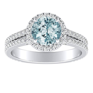 AUDREY  Halo  Aquamarine  Engagement  Ring  In  14K  White  Gold  With  1.00  Carat  Round  Stone
