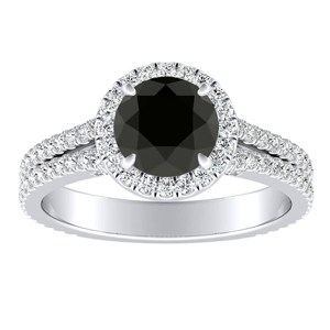 AUDREY Halo Black Diamond Engagement Ring In 14K White Gold With 0.50 Carat Round Diamond