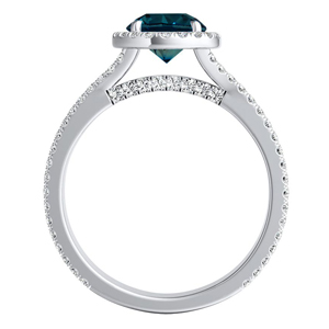 AUDREY  Halo  Blue  Diamond  Engagement  Ring  In  14K  White  Gold  With  0.50  Carat  Round  Diamond