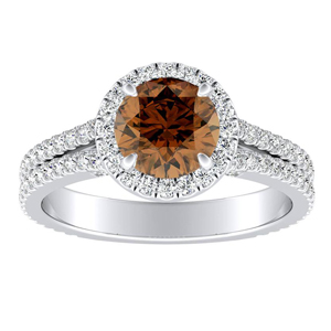 AUDREY Halo Brown Diamond Engagement Ring In 14K White Gold With 0.30 Carat Round Diamond