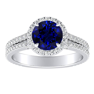 AUDREY Halo Blue Sapphire Engagement Ring In 14K White Gold With 0.30 Carat Round Stone