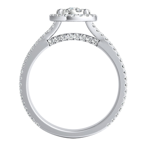 AUDREY Halo Diamond Engagement Ring In 14K White Gold With Round Diamond In H-I SI1-SI2 Quality