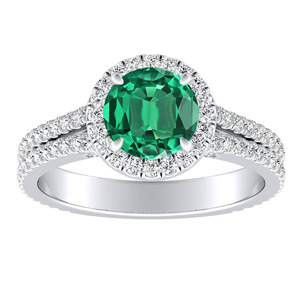 AUDREY Halo Green Emerald Engagement Ring In 14K White Gold With 0.30 Carat Round Stone