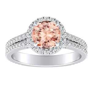 AUDREY Halo Morganite Engagement Ring In 14K White Gold With 1.00 Carat Round Stone