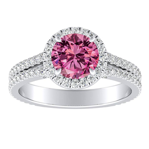 AUDREY  Halo  Pink  Sapphire  Engagement  Ring  In  14K  White  Gold  With  0.50  Carat  Round  Stone