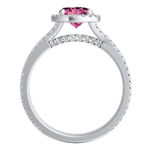 AUDREY  Halo  Pink  Sapphire  Wedding  Ring  Set  In  14K  White  Gold  With  0.50  Carat  Round  Stone