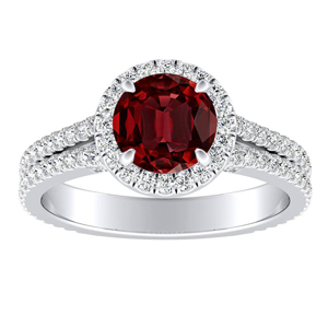 AUDREY Halo Ruby Engagement Ring In Platinum With 0.50 Carat Round Stone