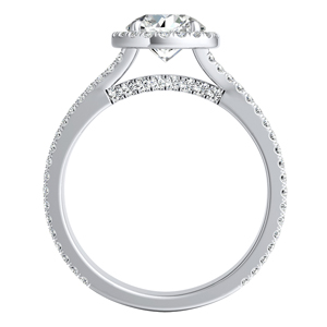 AUDREY Halo Diamond Engagement Ring In 14K White Gold With 0.50ct. Round Diamond